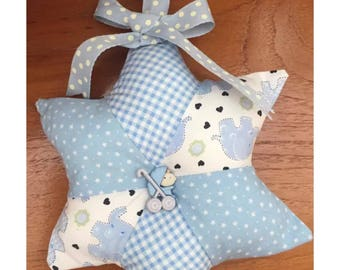 Baby boy patchwork hanging star