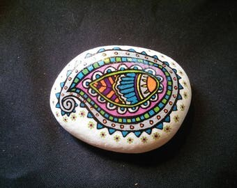 Silver Blue leaf mandala painted Pebble paperweight