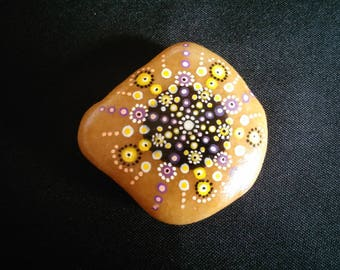 Yellow purple mandala painted Pebble paperweight