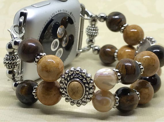 Apple Watch Band, Women Bead Bracelet Watch Band, iWatch Strap, Apple Watch 38mm, Apple Watch 42mm, Browns Cream Jasper Sliders Size 7""
