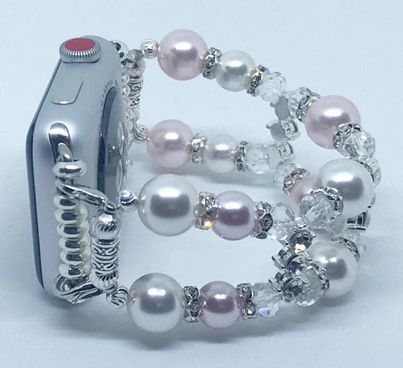 Apple Watch Band, Women Bead Bracelet Watch Band, iWatch Strap, Apple Watch 38mm, 42mm, Pink & White Swarovski Pearl Size 6 1/4 - 6 1/2""
