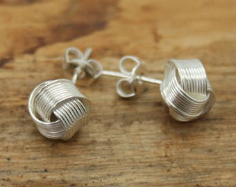 Silver Plated Wired Knot Earrings  (TE-009)