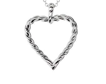 """Twisted Heart Pendant with Stainless Steel, 18"""" Chain Necklace"""