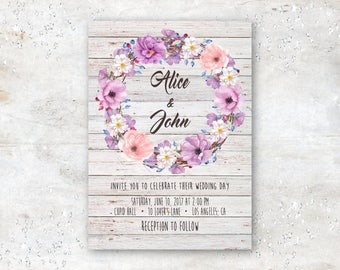 Digital Wedding Invitation With Rustic Wood Background and Bohemian Style Flower Wreath