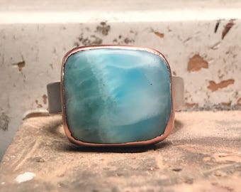 Larimar set in sterling silver and copper size 6.5