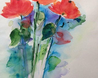 ORIGINAL WATERCOLOR watercolor painting poppies picture art of watercolour flowers