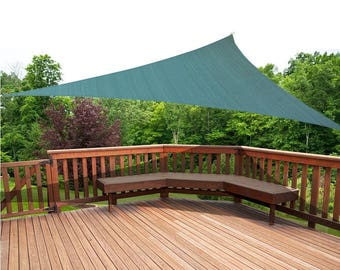 Custom Sized Triangle Waterproof Woven Sun Shade Sail in Vibrant Colors - Forest Green