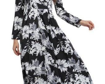 Beautful Long Black Floral Dress