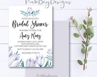 Purple Floral Watercolor Bridal Shower Invitation, Purple Floral Invite, Watercolor Shower Invitation, Floral Bridal Shower, Purple Shower
