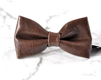 Boy Kids Baby Children Coffee Brown Faux Leather Bow Tie Bowtie Party Wedding 1-6 Years Old