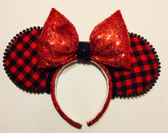 Red and Black Plaid Flannel ears