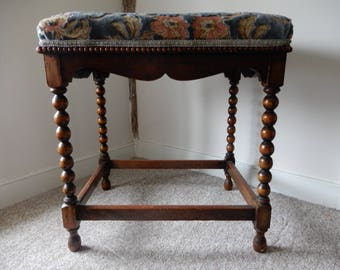 Mahogany Bobbin Leg Stool with Upholstery Top in blues and Pinks