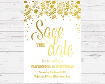 Foil Save the Date Cards - Meadow design, personalised and customisable