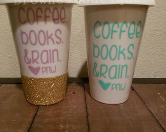 "Customizable white ceramic travel mug/ glittered travel mug/ ""Coffee, books & rain"""