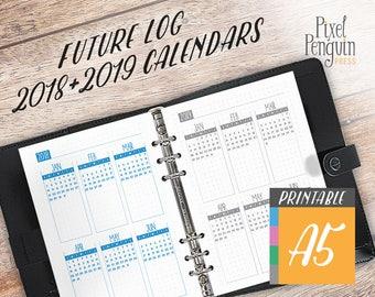 Future Log, Yearly Agenda Calendar, 2018-2019 Planner, Insert A5, Printable Bullet Journal Template, Bujo Starter Kit, Year at Glance
