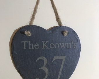 Personalised Slate Heart Plaque, House Number, House Name, Birthday Gift,