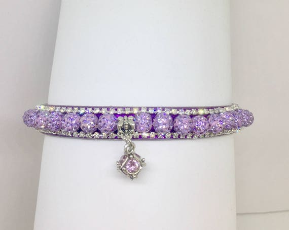 Cutie Pie Pet Collars TM ~Lavender Purple Disco Ball~ Crystal Diamante Rhinestone Pet Dog Cat PU Leather Collar USA