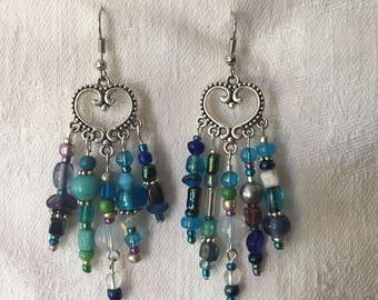 """Blue Chandelier Earrings 2 1/2"""" length"""