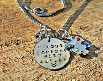 Autism Necklace/Awareness Jewelry/Autism Awareness/Puzzle Necklace/I Love Someone With Autism/Autism Mom/Charm Necklace/Autism Jewelry