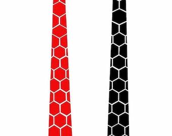 Dual side Black-Red Hex Style Tie - Honeycomb  ( Suit Accessories - NeckTie, Hex Neck tie Style)