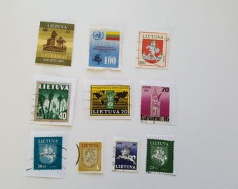 Setx10 LITHUANIA Vintage Postage Post Stamp, Antique Postal Stamps, Collectible stamps, Collection philately LT3
