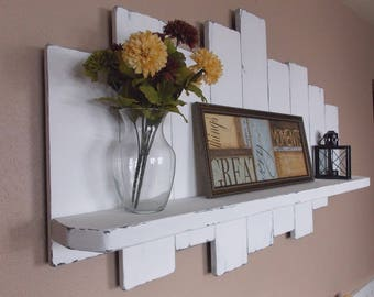 Rustic offset shelf; offset shelves, wooden shelves, shabby chic decor, rustic home decor, rustic country decor, farmhouse décor