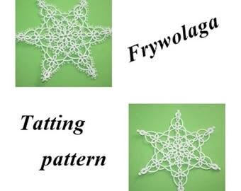 Tatting Snowflake, Christmas tree decorations, Tatting Christmas Star, Shuttle, Instant download PDF, 2 Schemes Tatting lace Pattern PDF