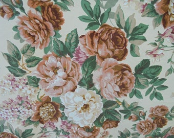 Vintage Cotton Floral Fabric/Brown ,Mauve,Green,White,Beige.2 pieces  Each 53'' by 43'' approx