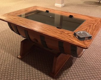 Whiskey Barrel Coffee Table WITHOUT Bottle storage