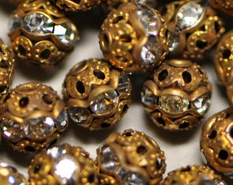 6 mm 20 Pieces Round Rhinestone Filigree Beads Vintage Style Antique Gold Tone 20É