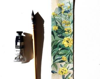Card botanical Lantana bookmark, unique original drawing, watercolor flowers, yellow flowers, design hand drawn bookmark, gift