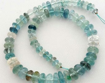 "MOSS AQUAMARINE,Moss Aqua, faceted beads , 1 strand Natural moos aqua rondelles beads, 4 mm -- 8 mm,10""strand [E1430] moss aqua beads"