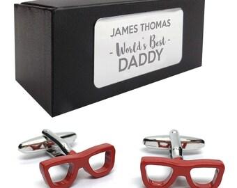 Opticians geek glasses CUFFLINKS World's best dad, grandad, uncle, husband gift, presentation box PERSONALISED ENGRAVED plate - 405