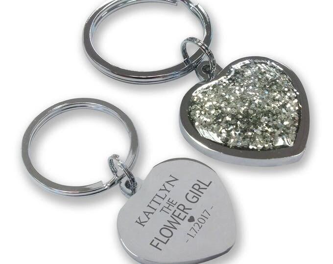 Personalised engraved FLOWER GIRL wedding keyring gift, glittery bling heart shaped keyring - GHE-W4