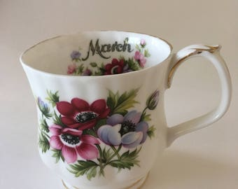 "Vintage Royal Albert ""March"" Flower of the Month series teacup - Vintage Royal Albert Teacup -March Teacup - zodiac teacup"