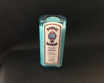 1 Liter Bombay Sapphire Candle London Dry Gin Bottle Soy Candle 1 Liter vs 750ML. Made To Order !!!!!