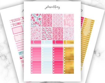 PINK ROSES Weekly Kit // Printable Planner Stickers / Erin Condren Plum Paper Happy Planner Kikki K Roses Love Spring Pink Gold Blue Mothers