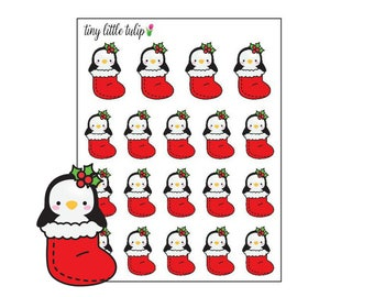 Planner Stickers Christmas Penguin in a Stocking