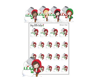 Planner Stickers Christmas Girl w/ Snowman