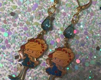 Herself the Elf earrings aqua crystal dangles gorgeous festival season wear fairy garden whimsical
