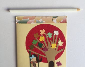 Handmade greeting card paper card for friend happy birthday girl on the swing autumn birthday greeting card paper goods