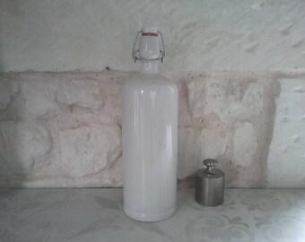 Vintage bottle made of white stoneware Renault Berry 1, retro stoneware France 40s decanter bottle