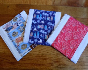 Set of 3 Beach Burp Cloths - Baby Shower Gift