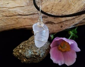 Quartz  -- wire wrapped, silver