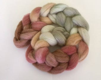 Pink Flamingo, hand dyed Shetland wool top or roving , 100g