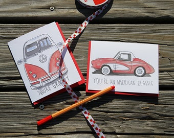Red Corvette Card, You're an American Classic, Birthday Card, Card for Him, Father's Day Card, Sports Car, Classic Car Card