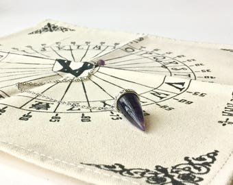 Amethyst Pendulum and Dowsing Mat for divination and communicate with spirit energy wicca psychic tarot gift set