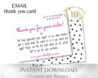 Hot Pink and Black Polka Dot Thank You Card for Email & Print
