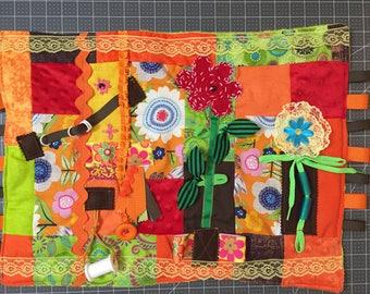 fidget quilt/ busy blanket/ activity blanket/ Dementia awareness/ Alzheimer awareness/ stroke rehab/ flower fidget quilt/ gardening fidget