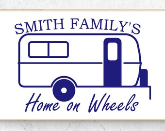 """Rounded Camper Personalized Home on Wheels Vinyl Decal (6"""" x 4.2"""") Similar to Casita Independence"""